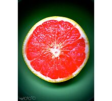 The colors of grapefruit and a green bowl Photographic Print