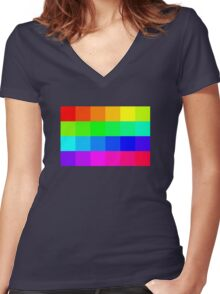 Colorful Pixels  Women's Fitted V-Neck T-Shirt