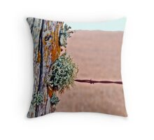 Lichen and Barbed Wire Throw Pillow