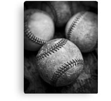 Old Baseballs in Black and White Canvas Print