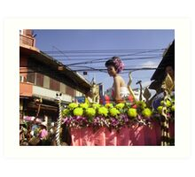 Colourful Floral Float in Chiang Mai Festival, Nth. Thailand. Art Print