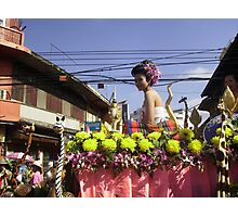 Colourful Floral Float in Chiang Mai Festival, Nth. Thailand. Photographic Print