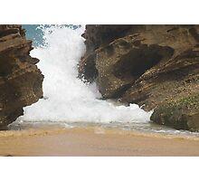 Waves crashing trhough rocks at redhead beach,Newcastle. NSW Photographic Print
