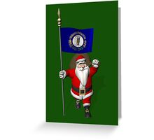 Santa Claus With Flag Of Kentucky Greeting Card