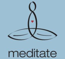 """Meditator with """"Meditate"""" in simple text. by Mindful-Designs"""