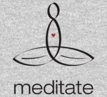 """Meditator with """"Meditate"""" in simple text. One Piece - Long Sleeve"""