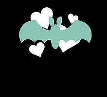 Teal Bat with White Hearts by DeliriumLina