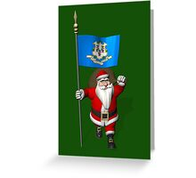 Santa Claus With Flag Of Connecticut Greeting Card