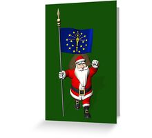 Santa Claus With Flag Of Indiana Greeting Card