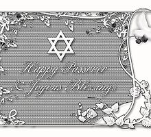 Black And White Passover Blessing Greeting Card by Moonlake