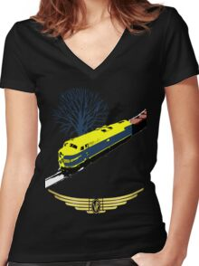 Victorian Railways S Class thunders by Women's Fitted V-Neck T-Shirt