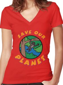 save planet earth Women's Fitted V-Neck T-Shirt