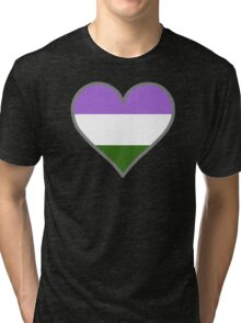 Genderqueer Heart in Gray Tri-blend T-Shirt