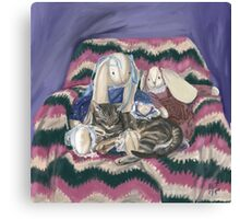 Stripes and His Bunny Friends  Canvas Print