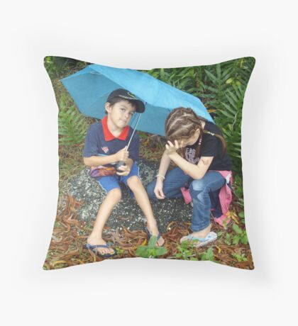 Disappointed with the Rain on Tropical Island Cruise. Throw Pillow