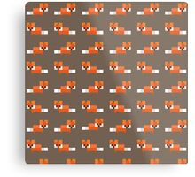 Pixel Foxes Pattern Metal Print