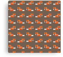 Pixel Foxes Pattern Canvas Print