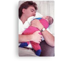 Dad sleeping with baby Canvas Print