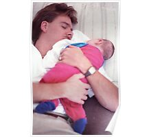 Dad sleeping with baby Poster