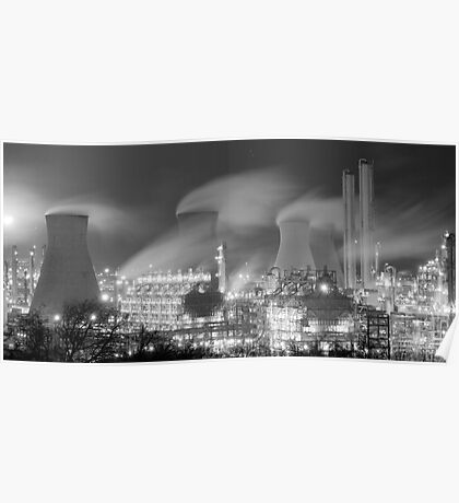 Grangemouth Refinery at night Poster