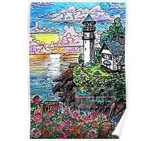 lighthouse and roses Poster