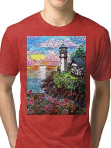 lighthouse and roses Tri-blend T-Shirt