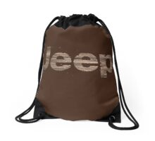 Wooden rustic Jeep letters Drawstring Bag