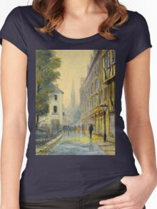 Rainy Day In Oxford England Women's Fitted Scoop T-Shirt