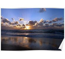 Reflected sunset, Seven Mile Beach, Grand Cayman, Caribbean Poster