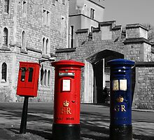Windsor Castle Post Boxes with colour accent by Jamie F