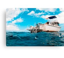 Crossed processed dive boat Canvas Print
