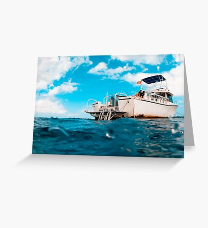 Crossed processed dive boat Greeting Card