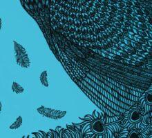 Blue Peacock ink illustration Sticker