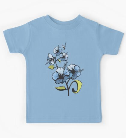 Blue watercolor flowers Kids Tee