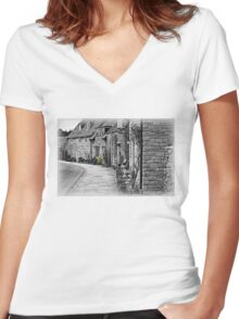 Corfe Cottages Women's Fitted V-Neck T-Shirt