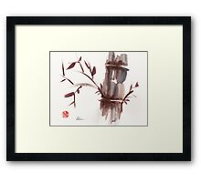 'Listen'  original ink wash sumi-e bamboo painting Framed Print