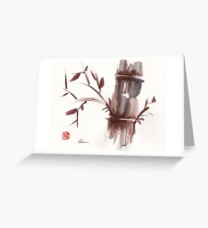 'Listen'  original ink wash sumi-e bamboo painting Greeting Card