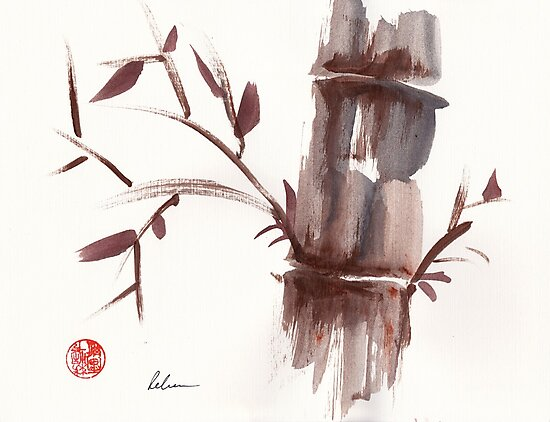'Listen'  original ink wash sumi-e bamboo painting by Rebecca Rees