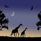 giraffes at dawn by Fran E.