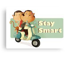 Stay Smart Scooter Monkeys Metal Print