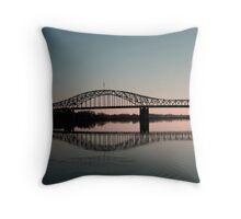 Blue bridge over the Columbia River Throw Pillow