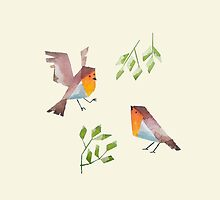 Low poly watercolor - Two robins by scarriebarrie