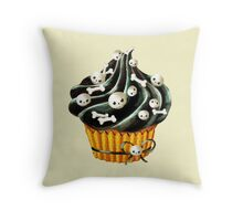 Black Halloween Cupcake Throw Pillow