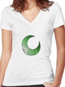 Green Moon Crest  Women's Fitted V-Neck T-Shirt