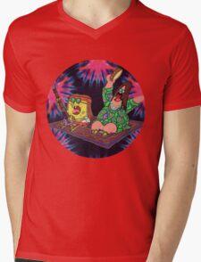 Psychedelic Sponge Mens V-Neck T-Shirt