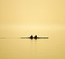 rowing at dusk by poupoune