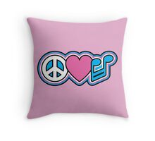 PEACE LOVE MUSIC Symbols Throw Pillow