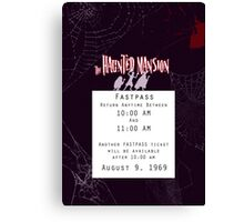 Haunted Mansion Fastpass Canvas Print