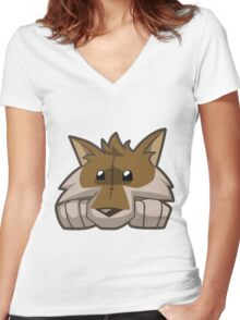 Animal Jam Wolf Plushie Women's Fitted V-Neck T-Shirt