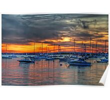Sunset over Marina Poster
